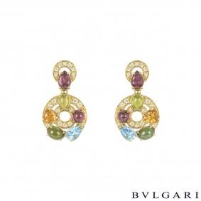 Bvlgari Yellow Gold Diamond & Multi-Gem Astrale Earrings